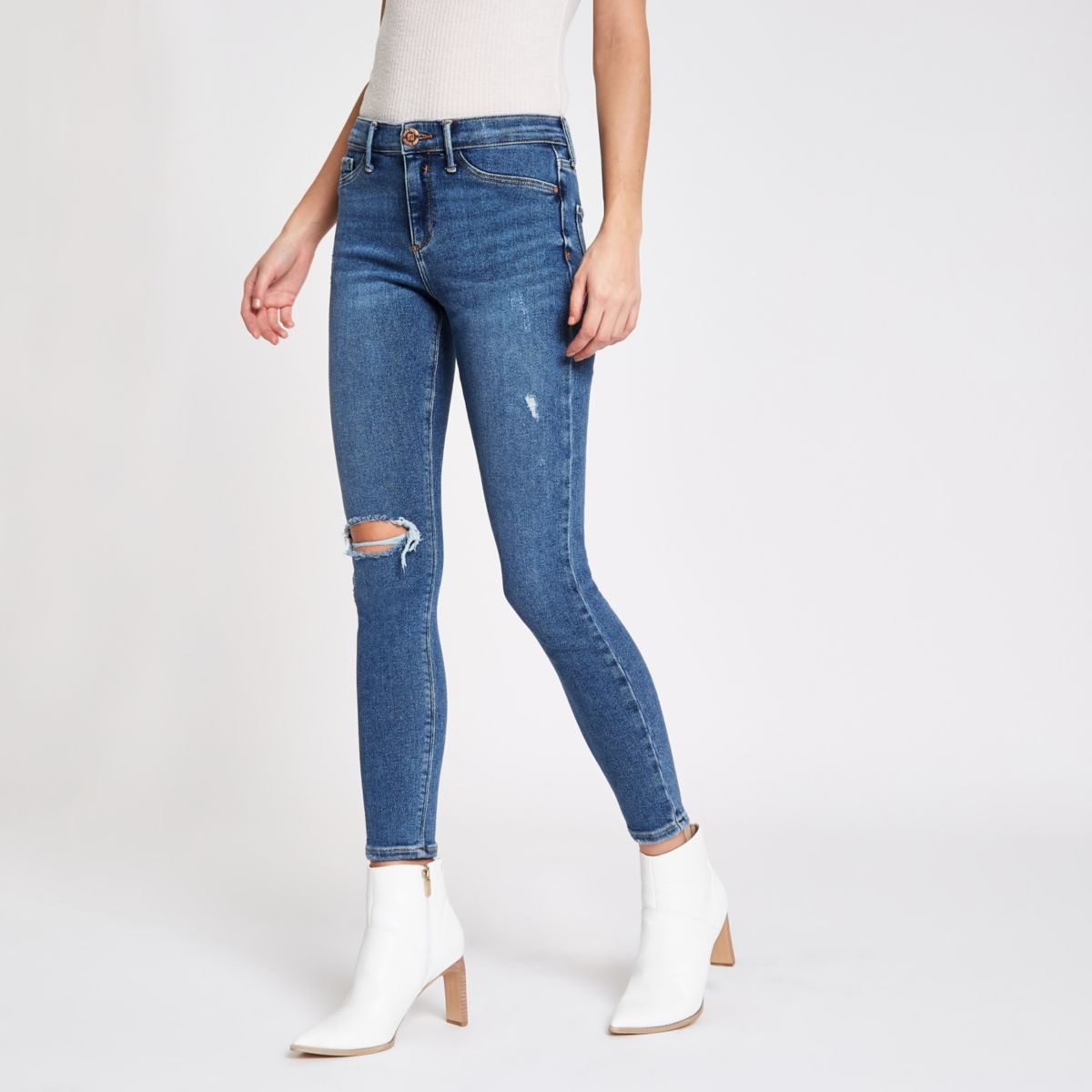 Mid blue Molly RI ripped skinny jeggings