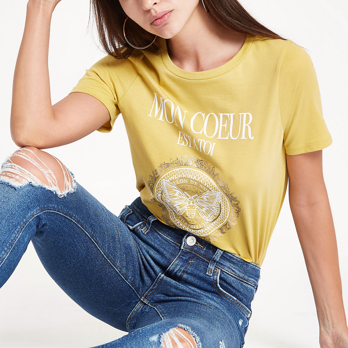 Yellow 'Mon Coeur' fitted T-shirt