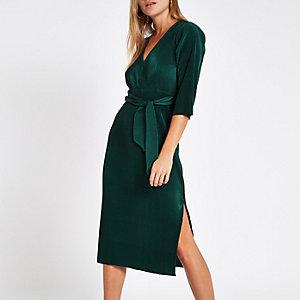 Dark green tie waist plisse midi dress