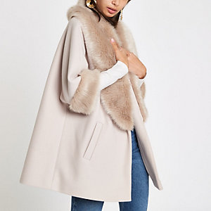 Cream faux fur trim swing coat