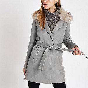 Grey faux fur trim belted robe coat