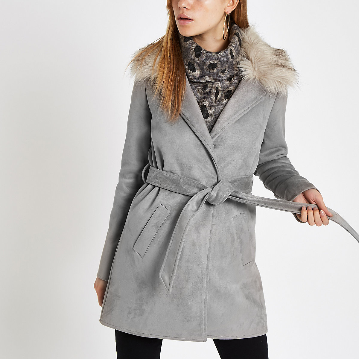 Grey faux fur trim belted robe coat