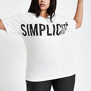 RI Plus - Wit T-shirt met diamantjes en 'Simplicit'-print