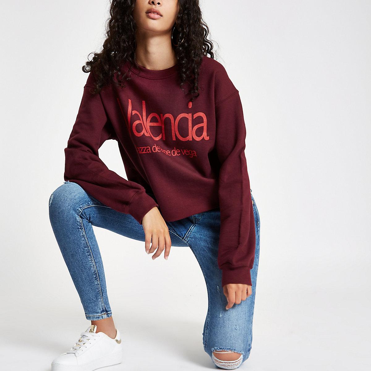 Burgundy 'Valencia' raw hem sweatshirt