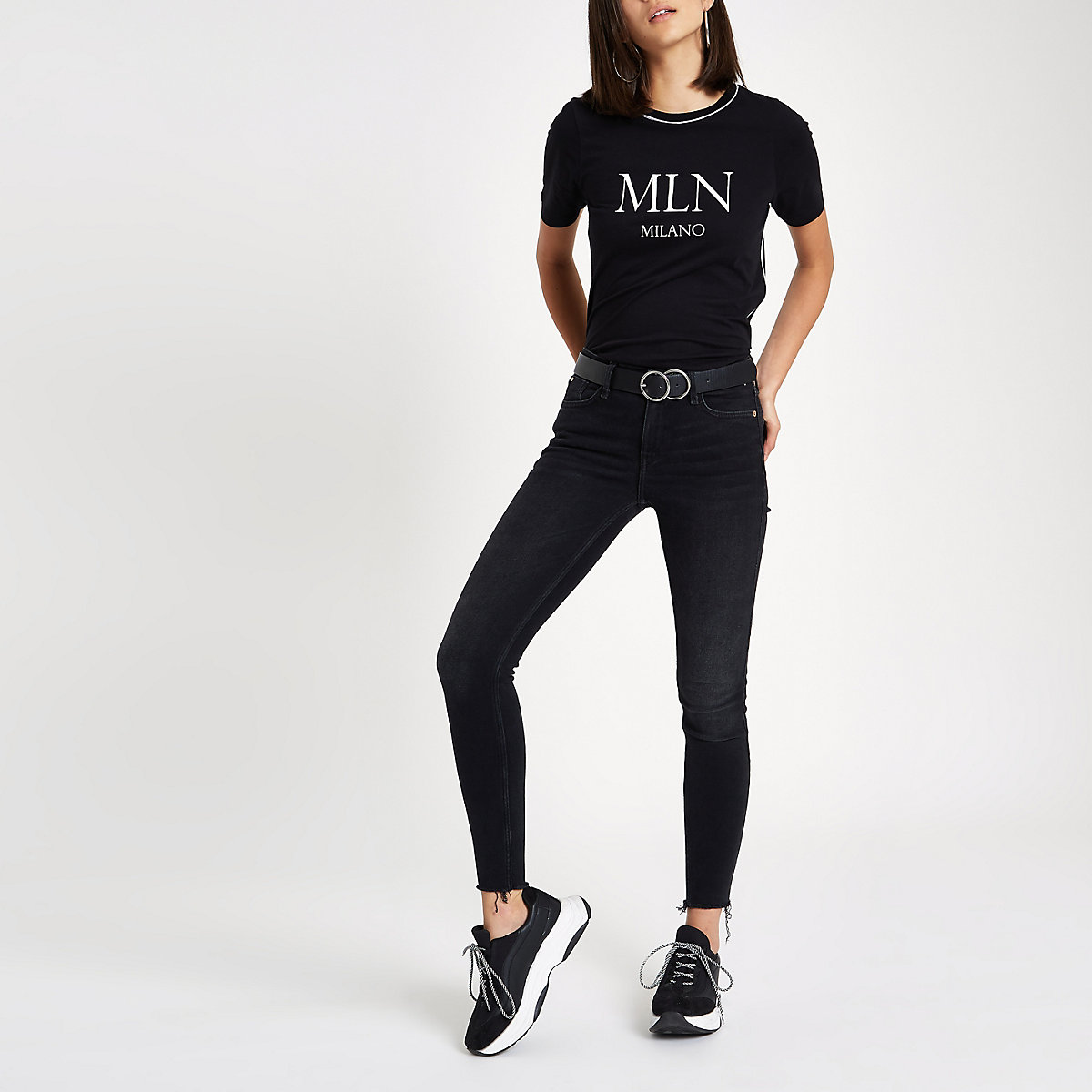 Black 'Milano' crew neck piped T-shirt