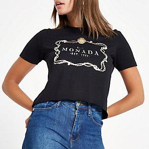 Black 'La Monada' print T-shirt