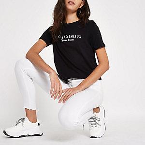 "Schwarzes, kurzes T-Shirt mit ""Rue Cremiux""-Print"