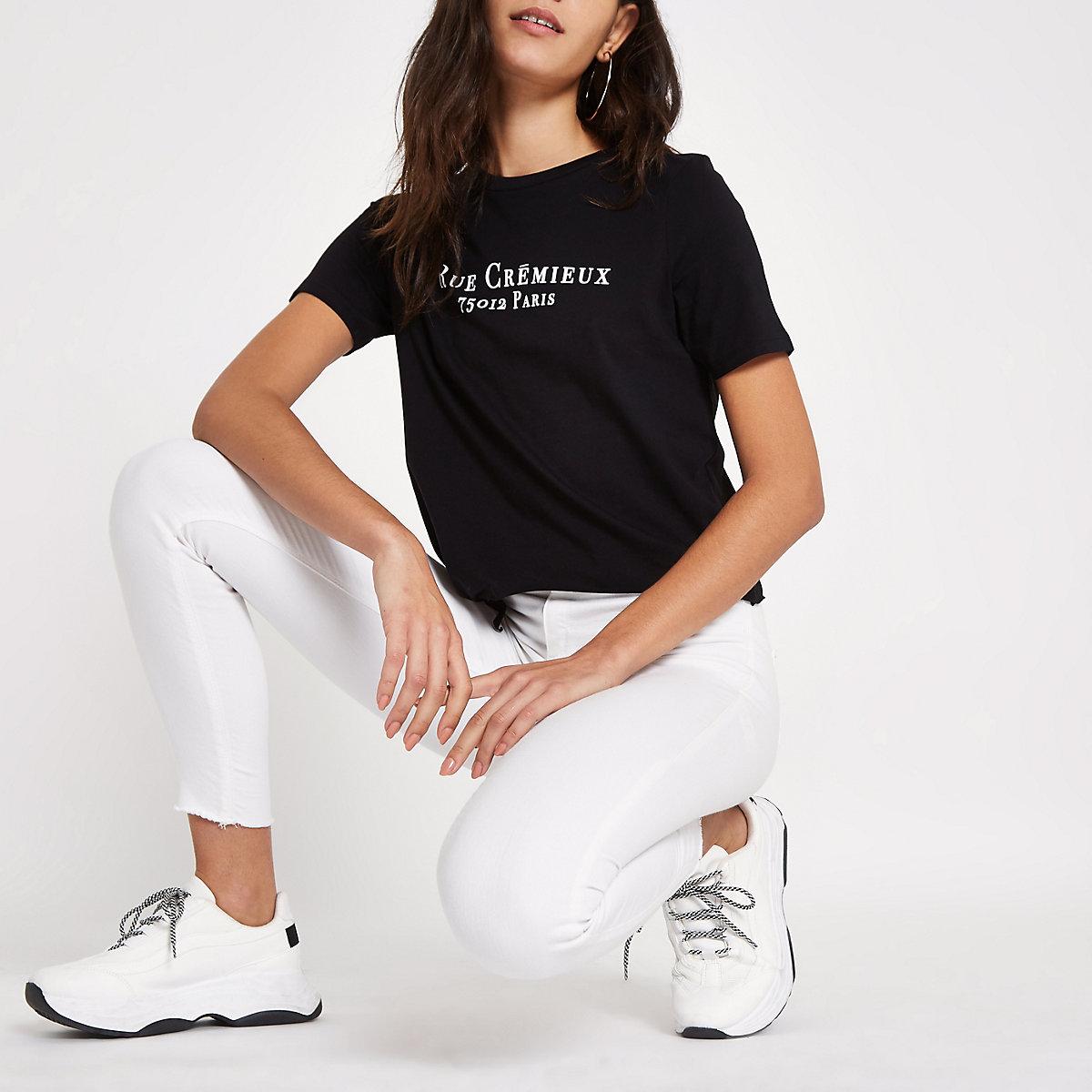 Black 'Rue Cremiux' print tie crop T-shirt