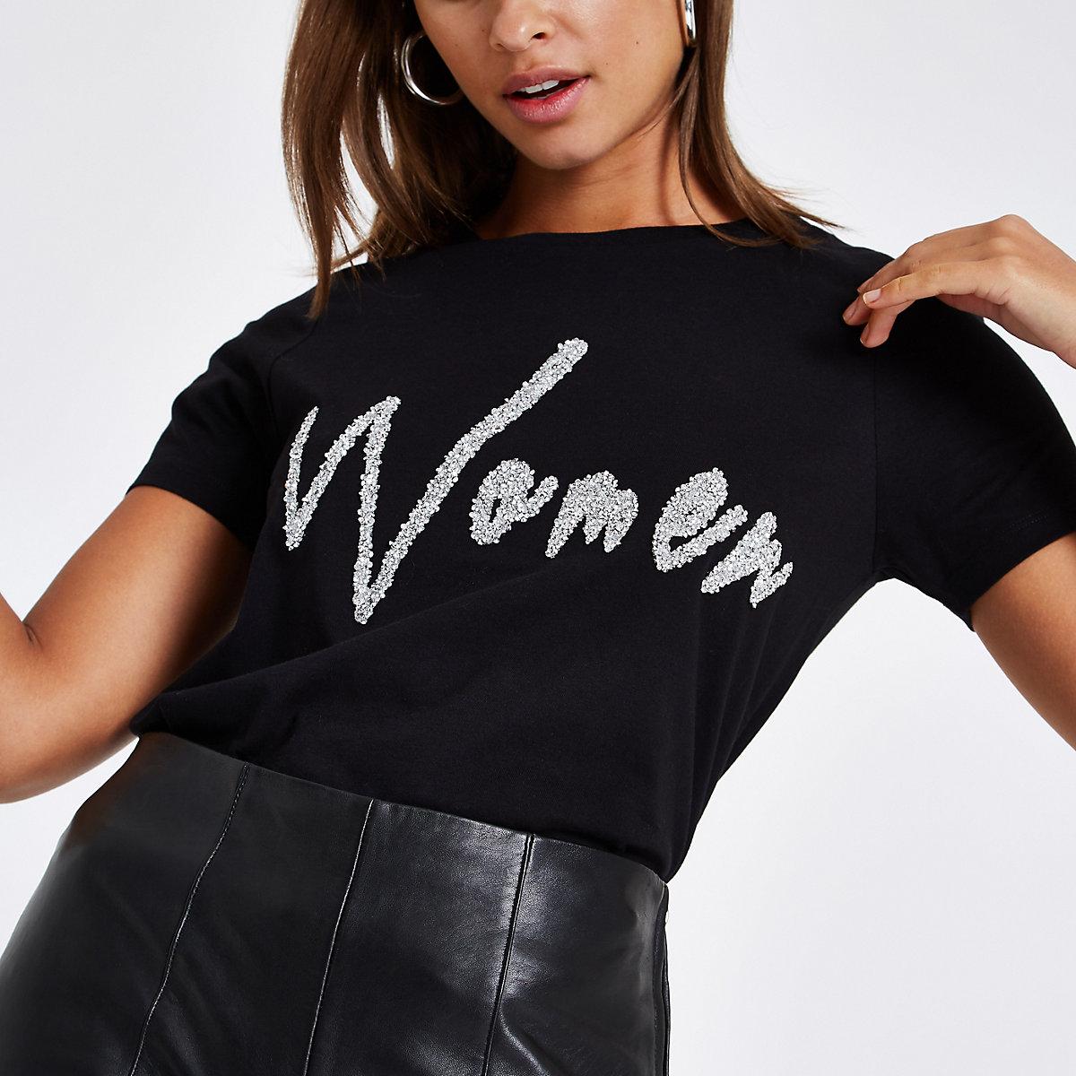 Zwart verfraaid T-shirt met 'women'-print en diamantjes