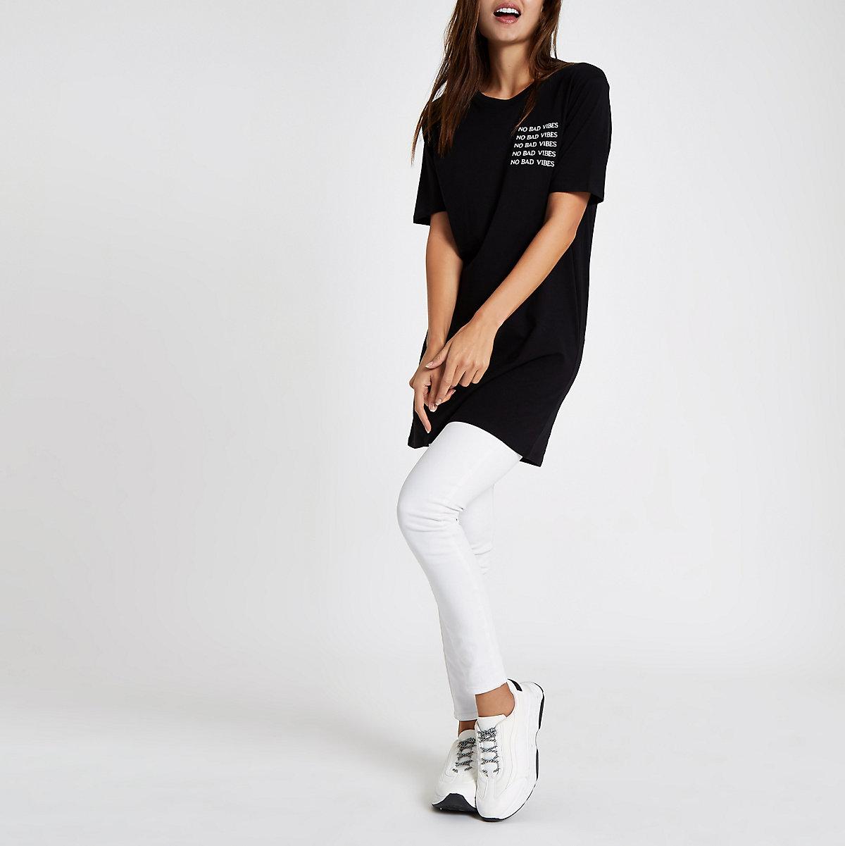 Black 'No Bad Vibes' printed jumbo t-shirt