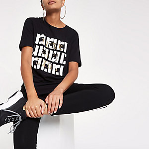 Black RI print crew neck T-shirt