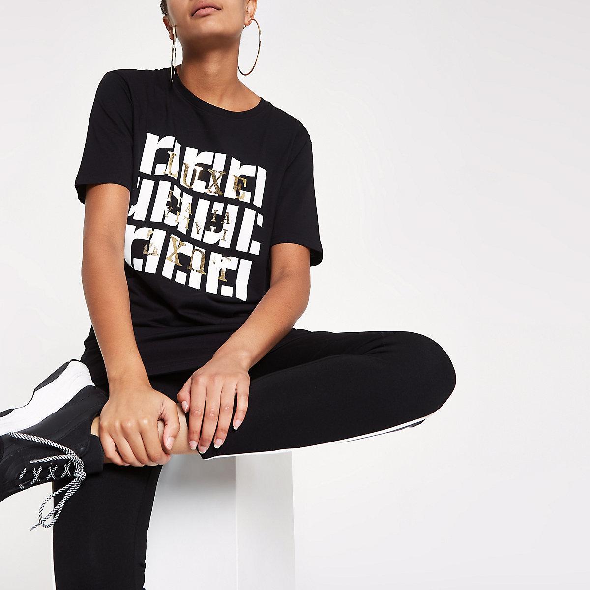 Zwart T-shirt met ronde hals en RI-print