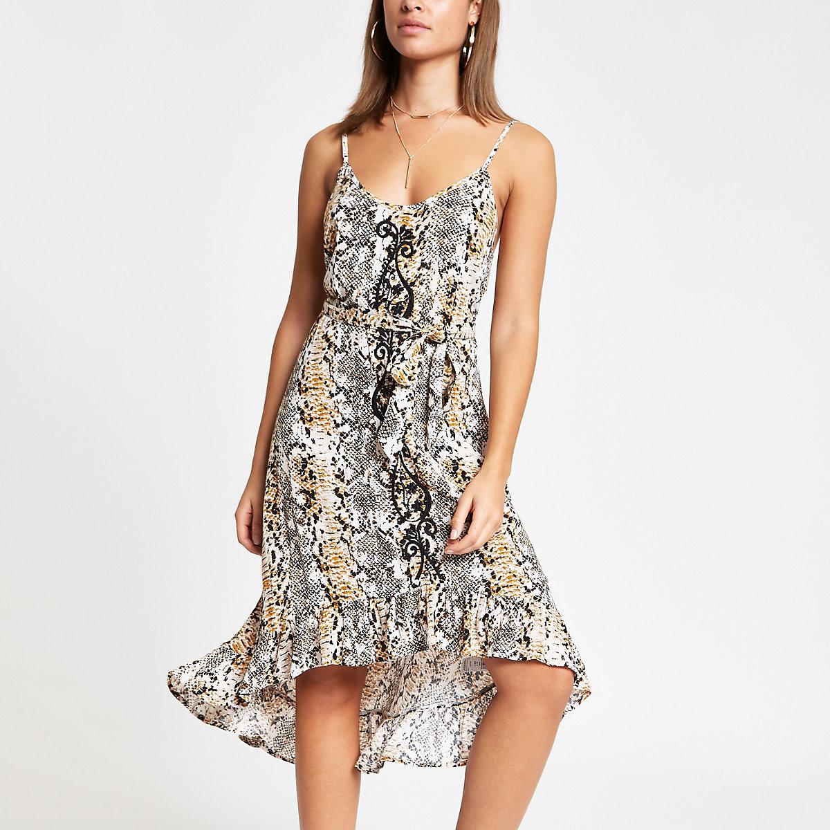 Beige snake print emb front beach dress