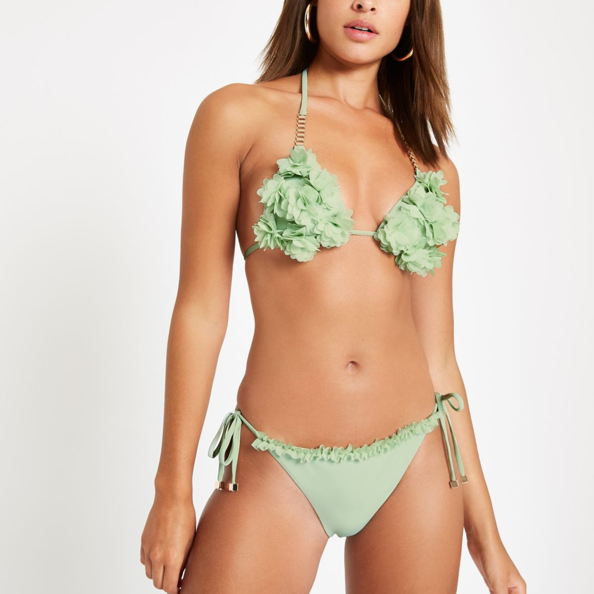 Green ruffle tie side bikini bottoms