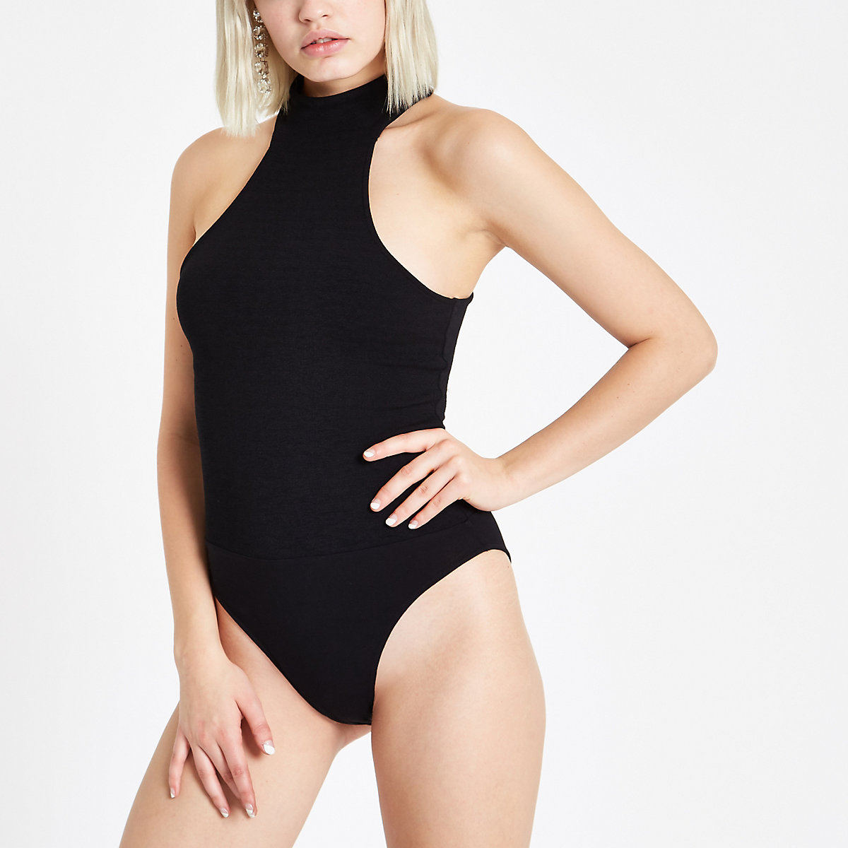 Black high neck cut out bodysuit