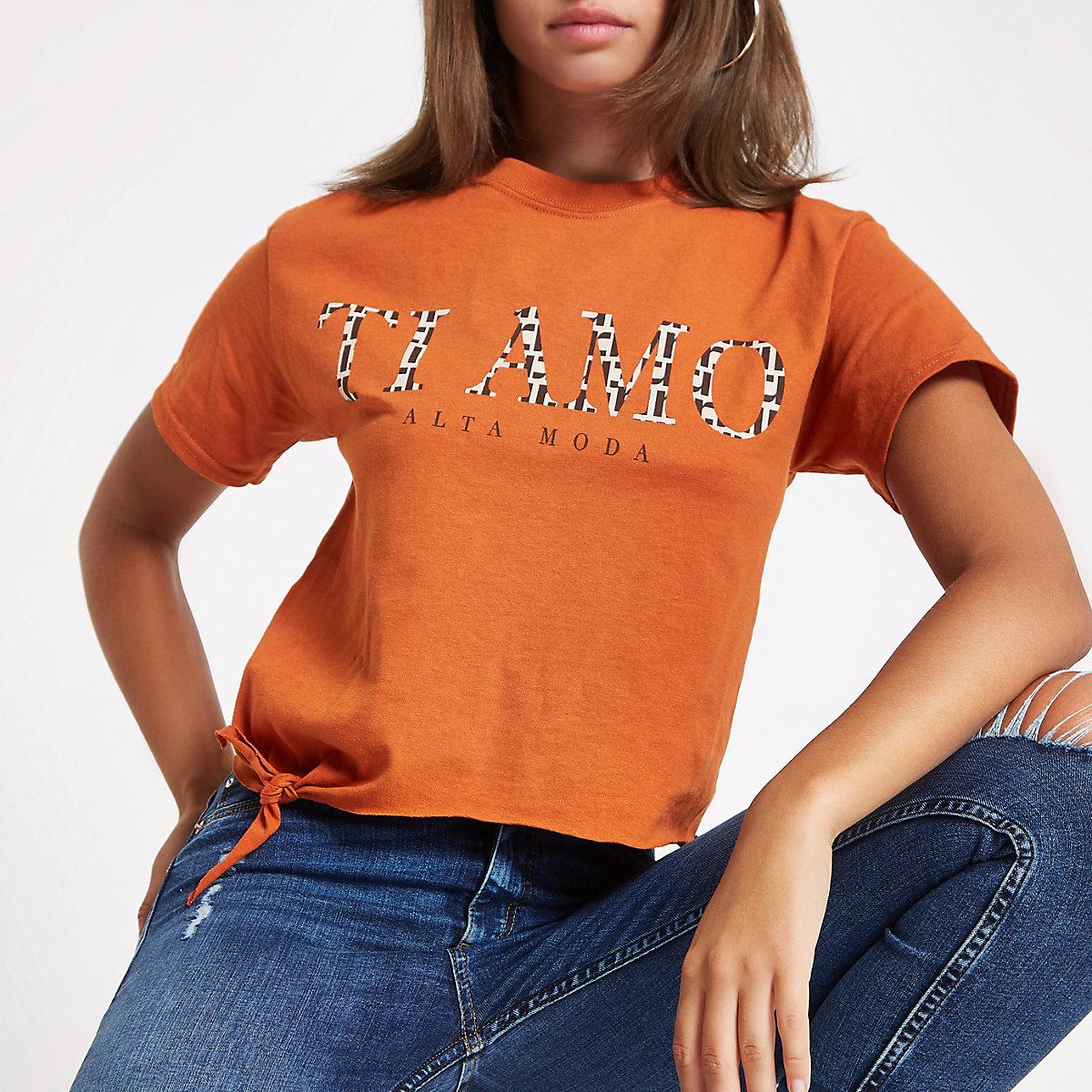 T-shirt imprimé «Ti Amo» orange noué sur le côté