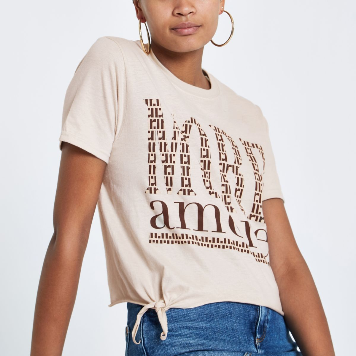 Beige print tie front cropped T-shirt