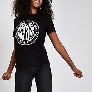 T-shirt « Paris » noir à strass