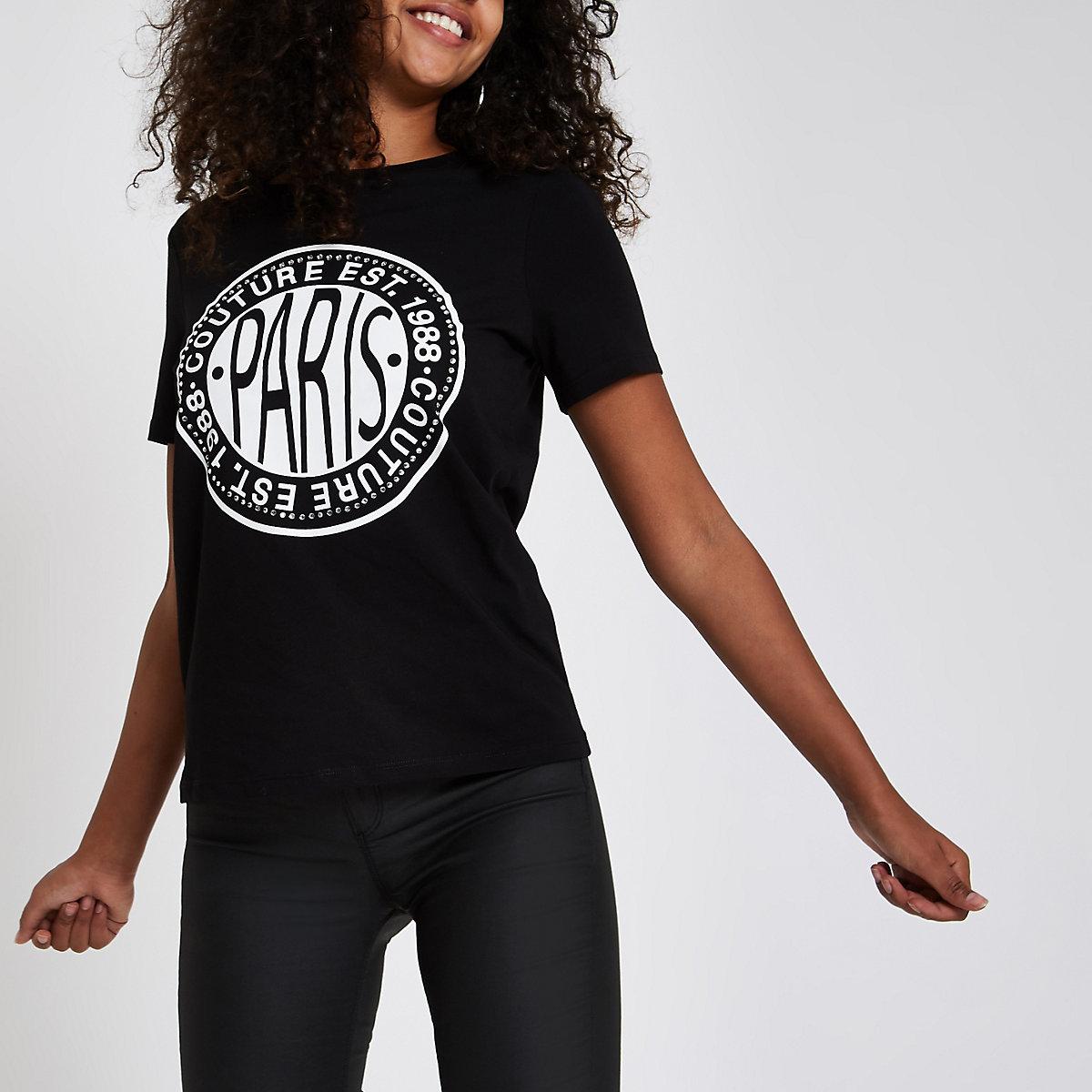 Black rhinestone embellished 'Paris' T-shirt