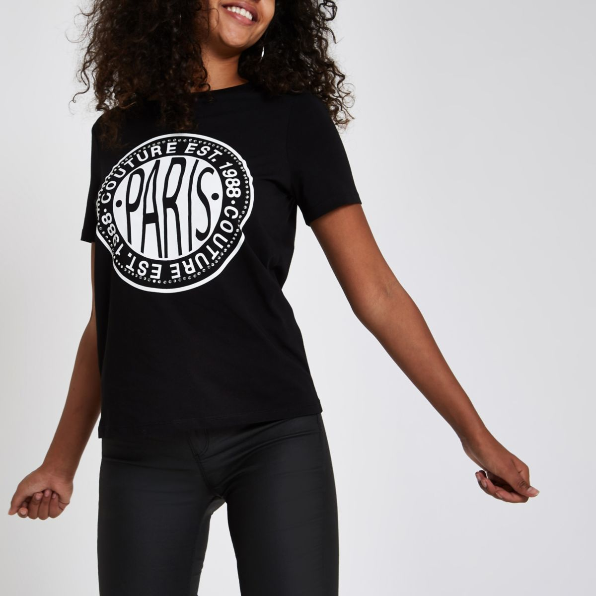 Black rhinestone embellished 'Paris' T-shirt