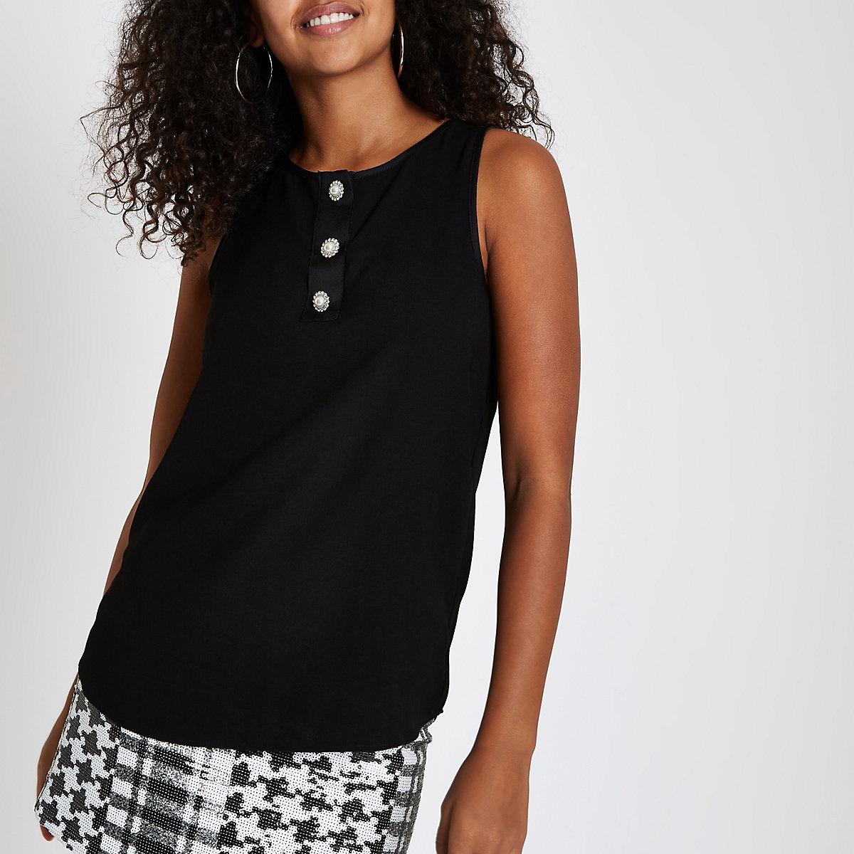 Black pearl rhinestone button sleeveless top