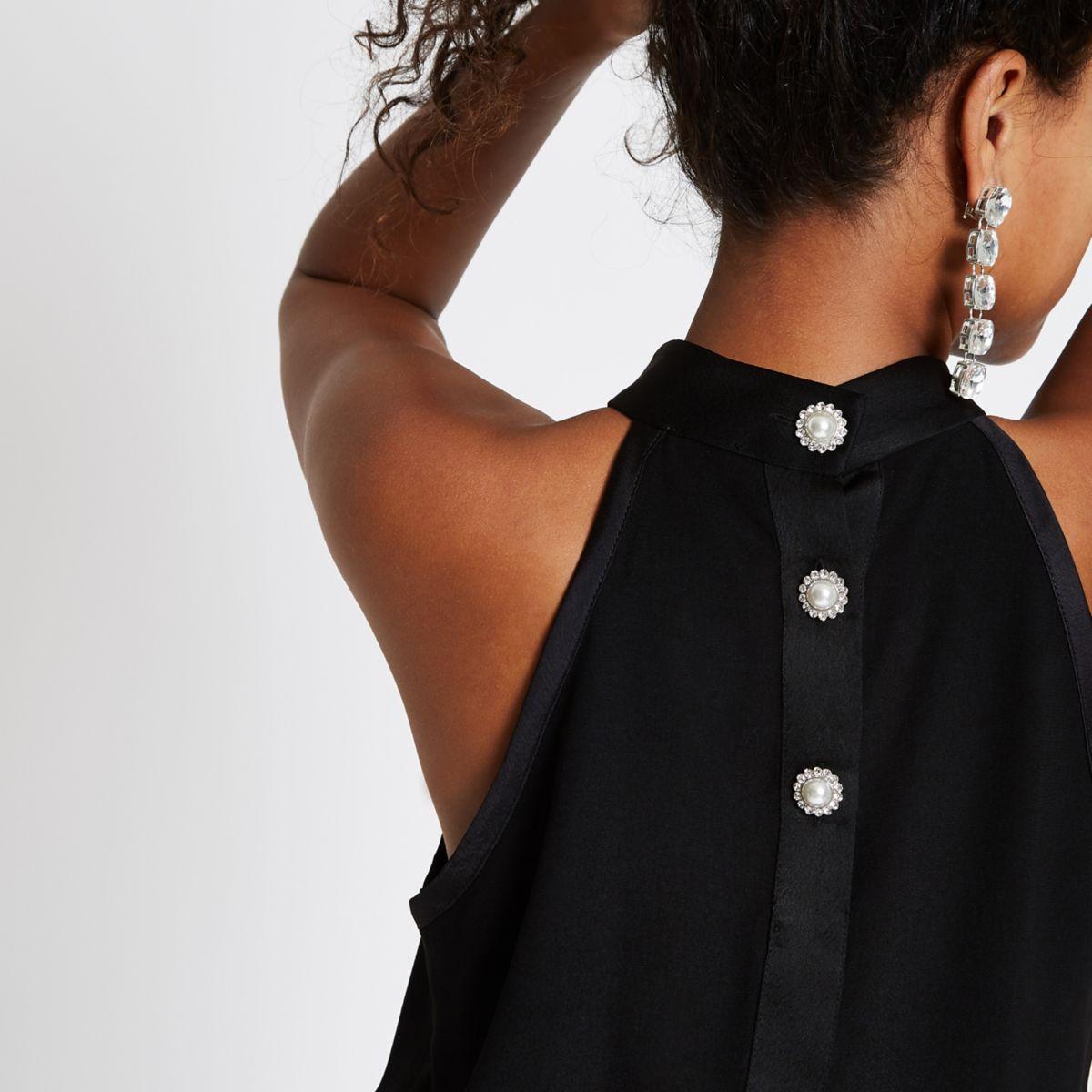 Black halter neck pearl rhinestone button top