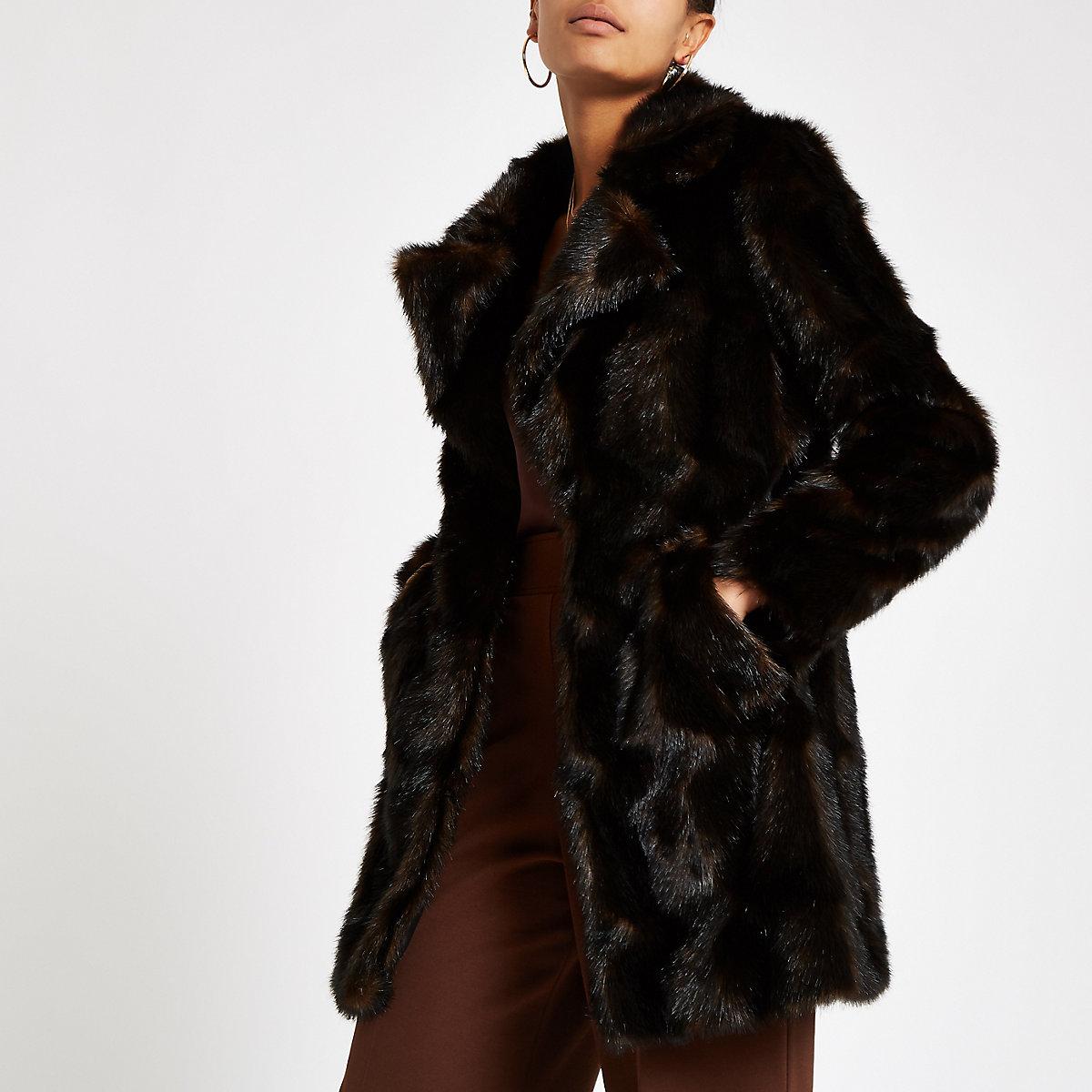 Dark brown faux fur swing coat