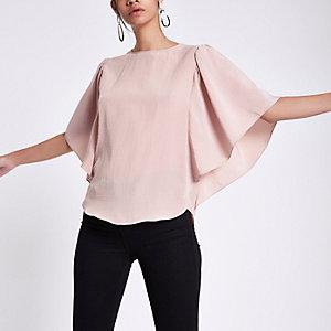 Light pink frill sleeve top