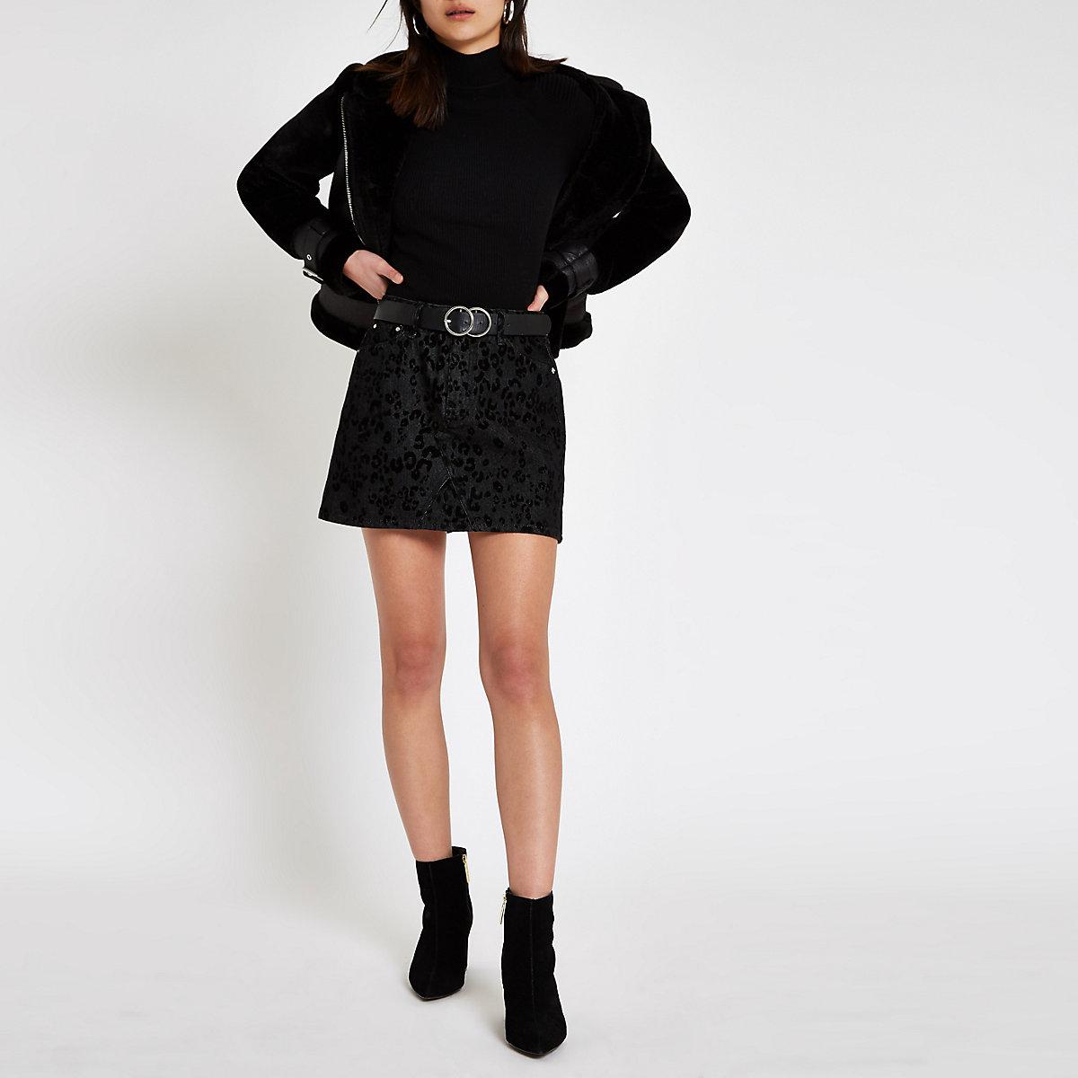 Black leopard flock print mini skirt