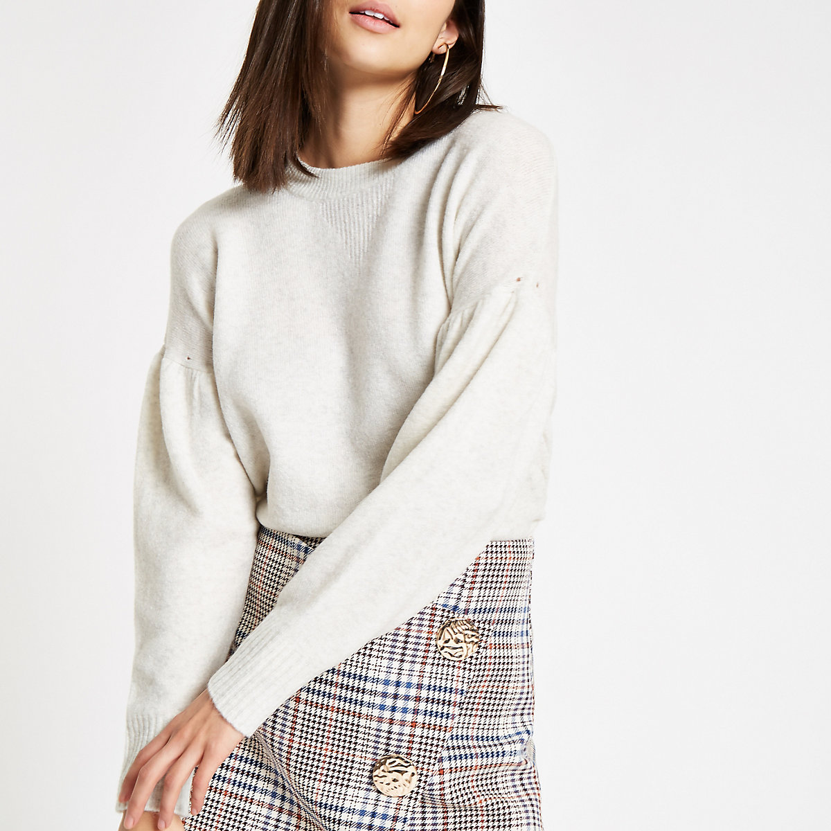 Cream puff sleeve knit jumper