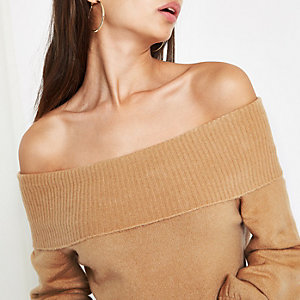 Beige knit bardot sweater