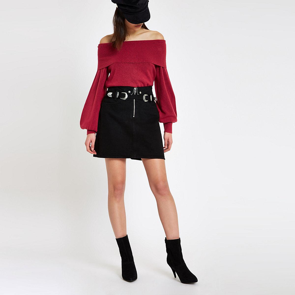 Dark pink knit bardot jumper