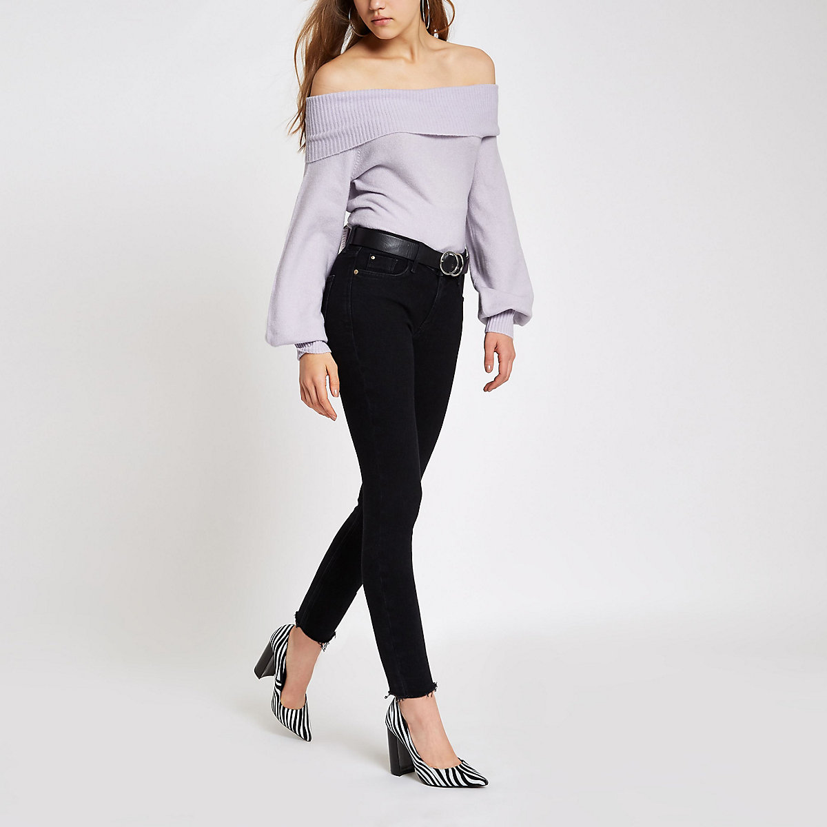 Lilac knit bardot jumper
