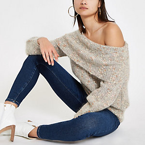 Beige Luxe knit speckled bardot sweater