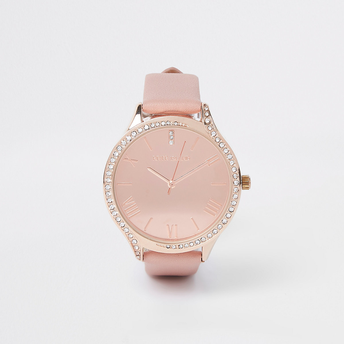 Pink rose gold tone diamante round face watch