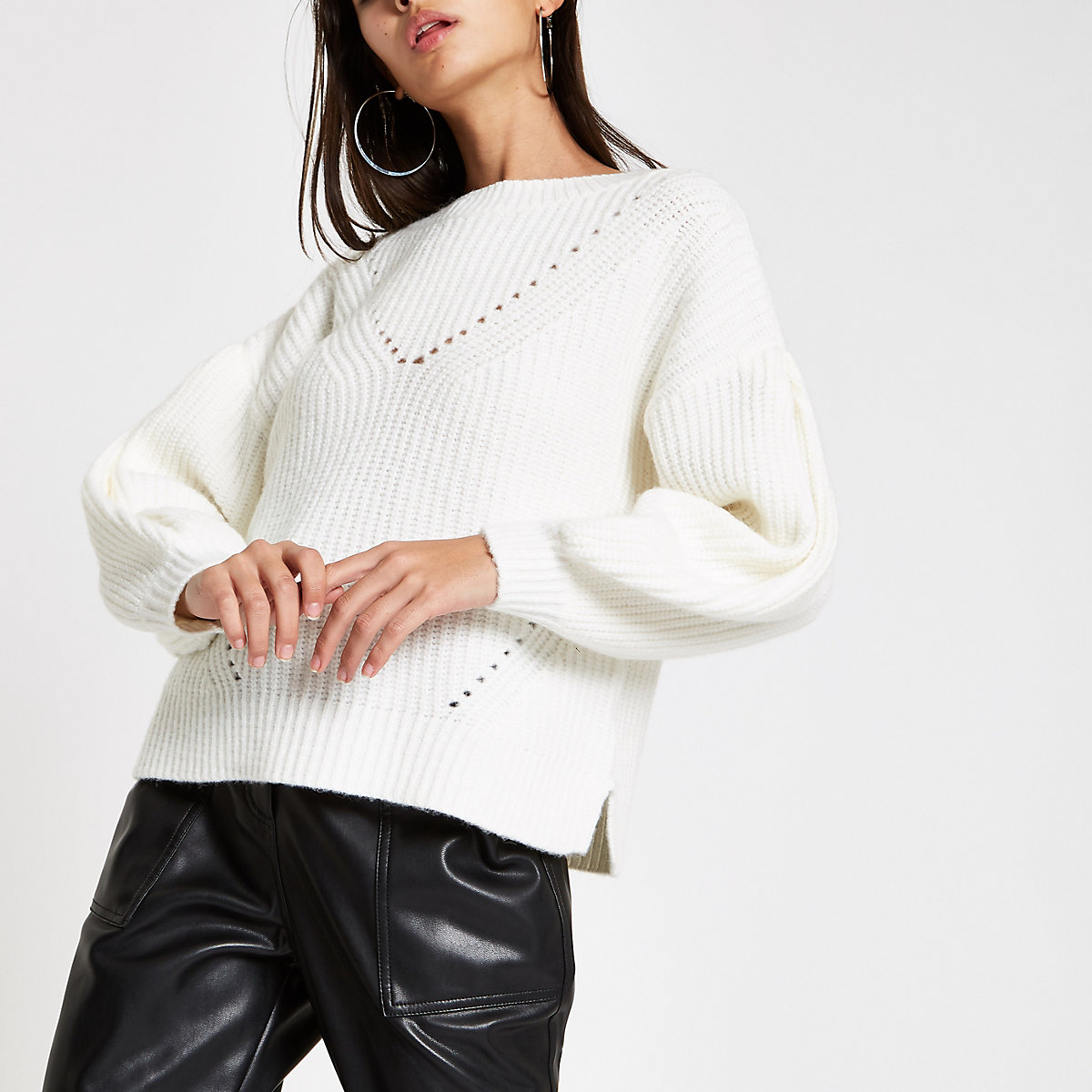 Cream luxe puff sleeve knit sweater