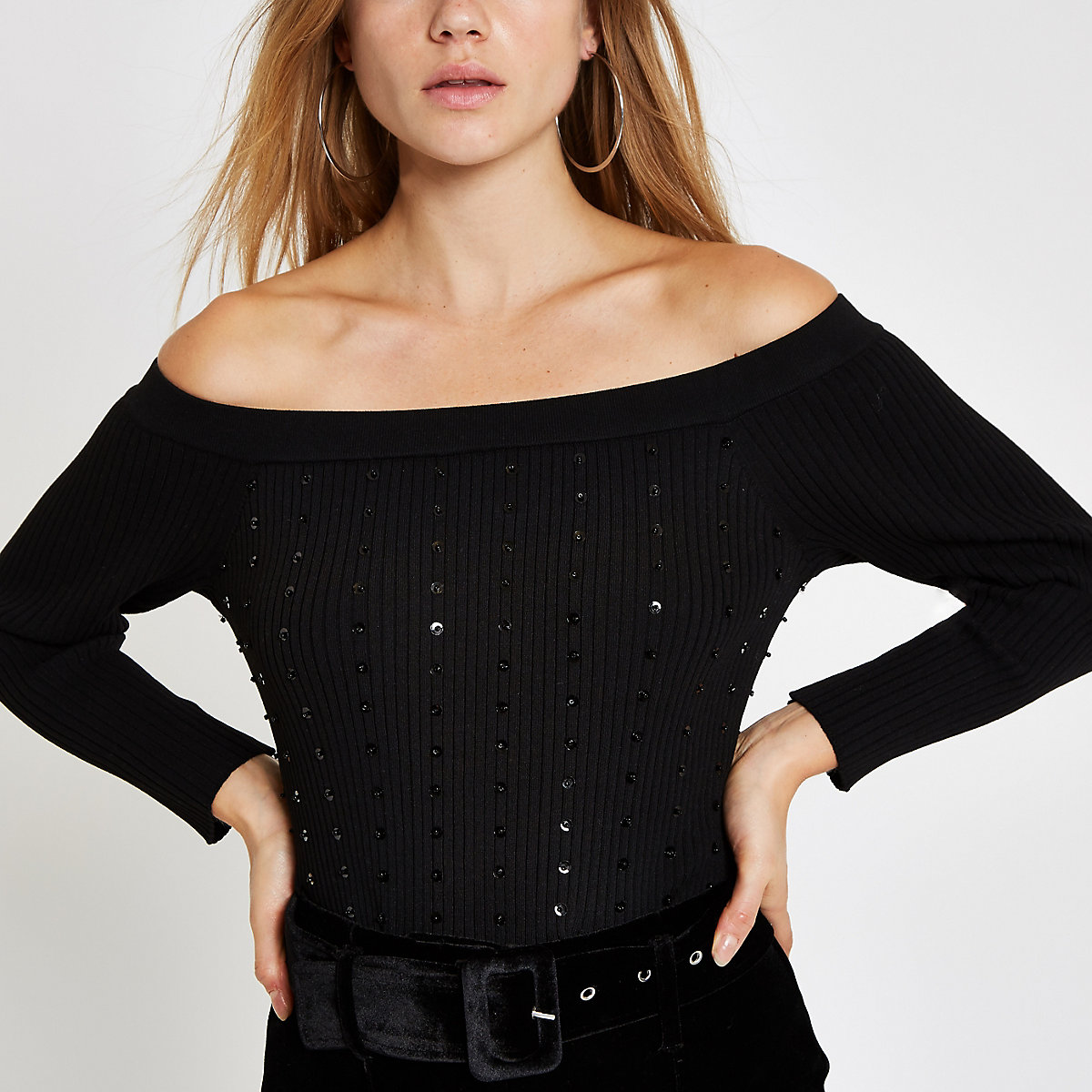 Black knit sequin long sleeve bardot top