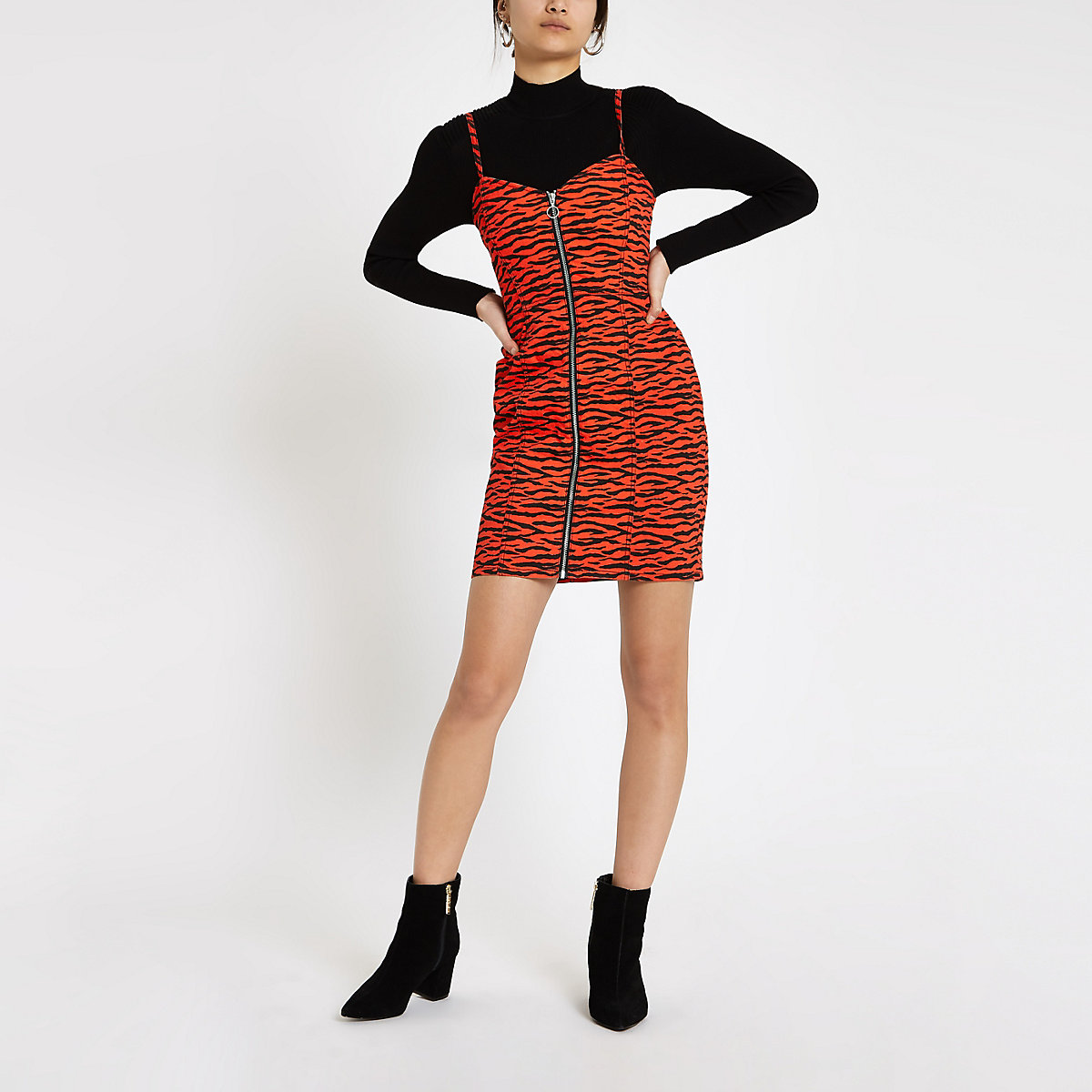 Red zebra print denim bodycon dress