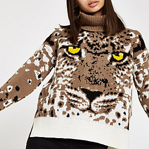 Brown tiger face print roll neck knit sweater