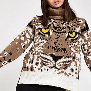 Bruine gebreide pullover met tijgergezicht en col