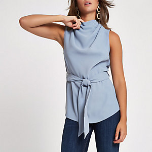 Grey roll neck belted top