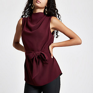 Purple roll neck belted top