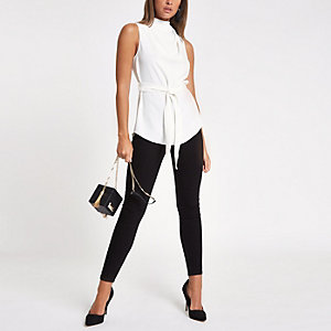 White roll neck belted top