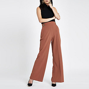 Brown double button wide leg pull on trousers