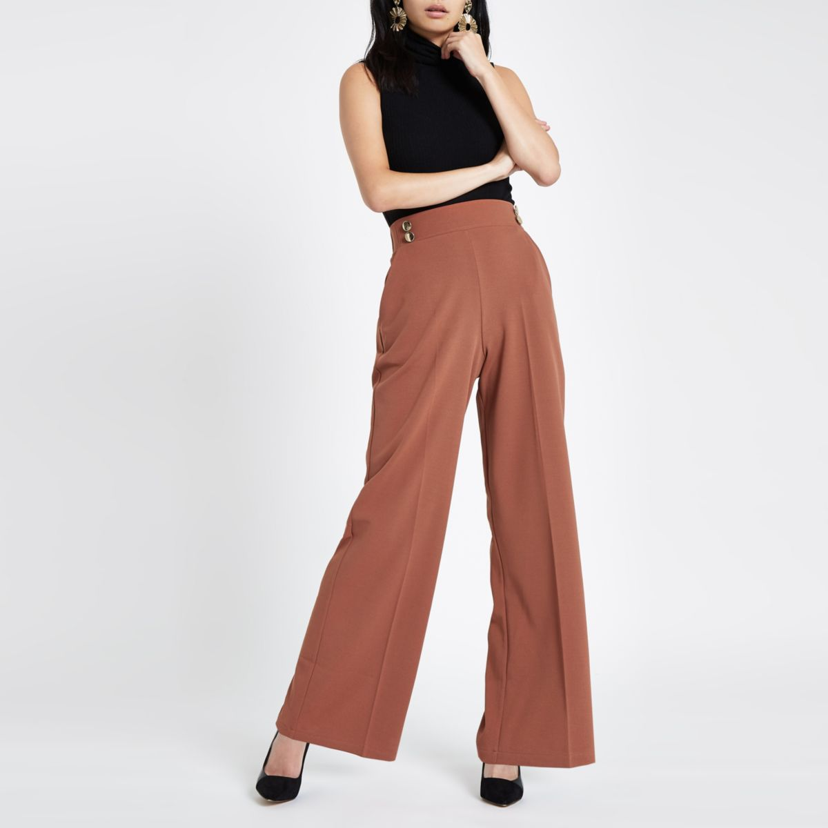 Brown double button wide leg pull on pants