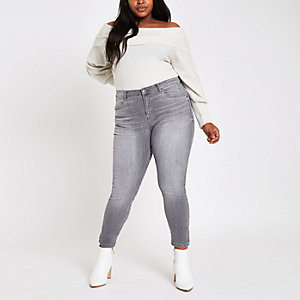 Plus – Alannah – Jean skinny gris à taille mi-haute
