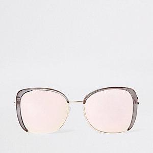 Graue, glamouröse Sonnenbrille mit verspiegelten Gläsern