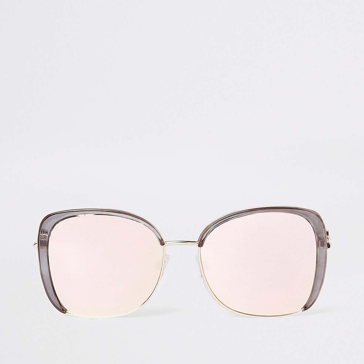 Grey mirrored lens glam sunglasses