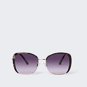 Bruine zonnebril in tortoise met metalen rand
