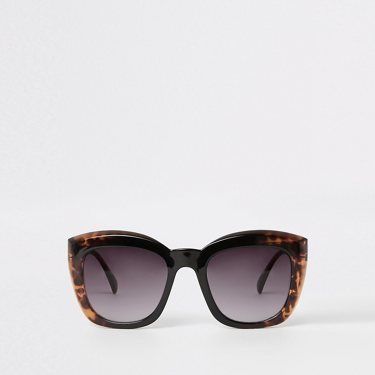 Brown tortoiseshell square glam sunglasses